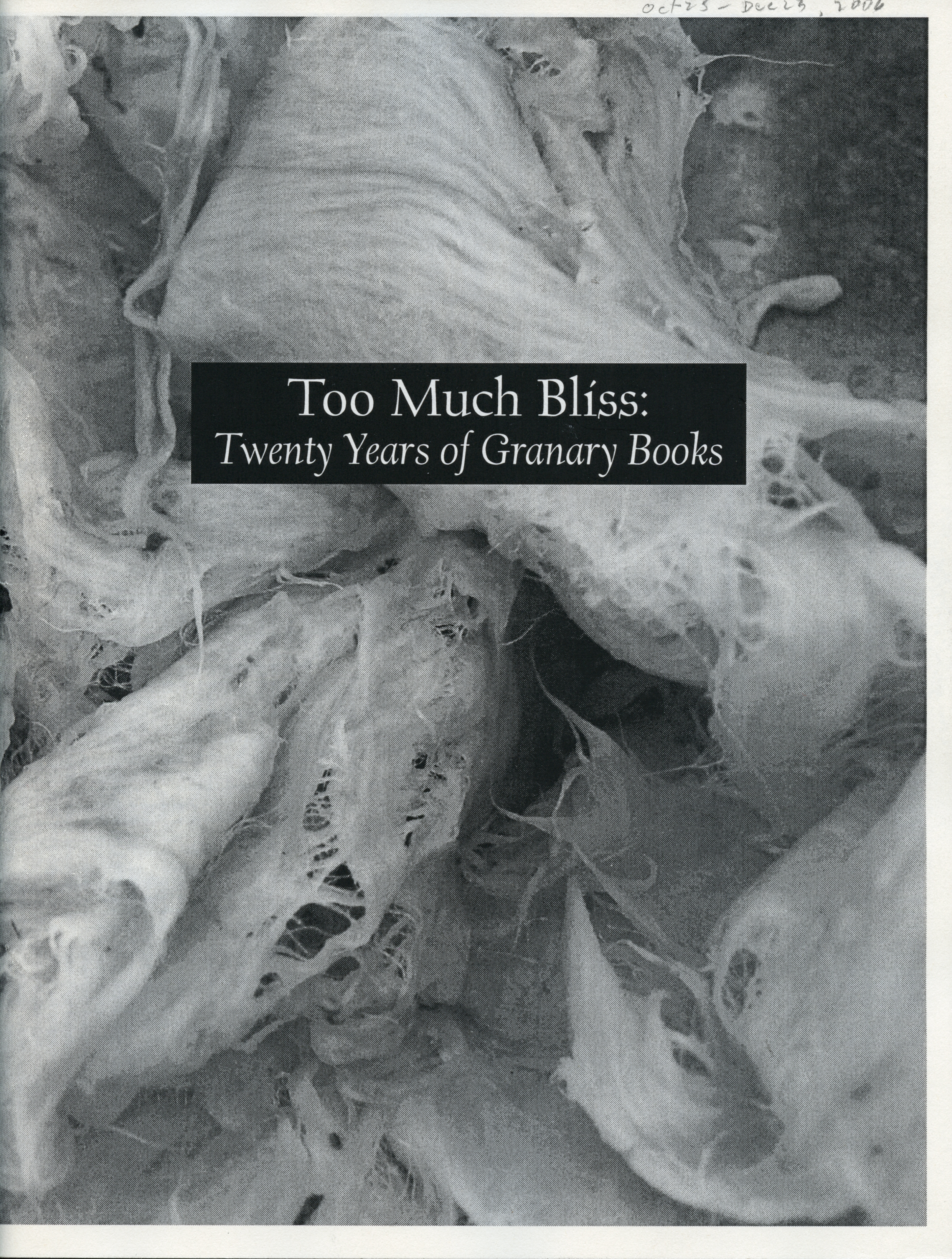 Too Much Bliss: Twenty Years of Granary Books