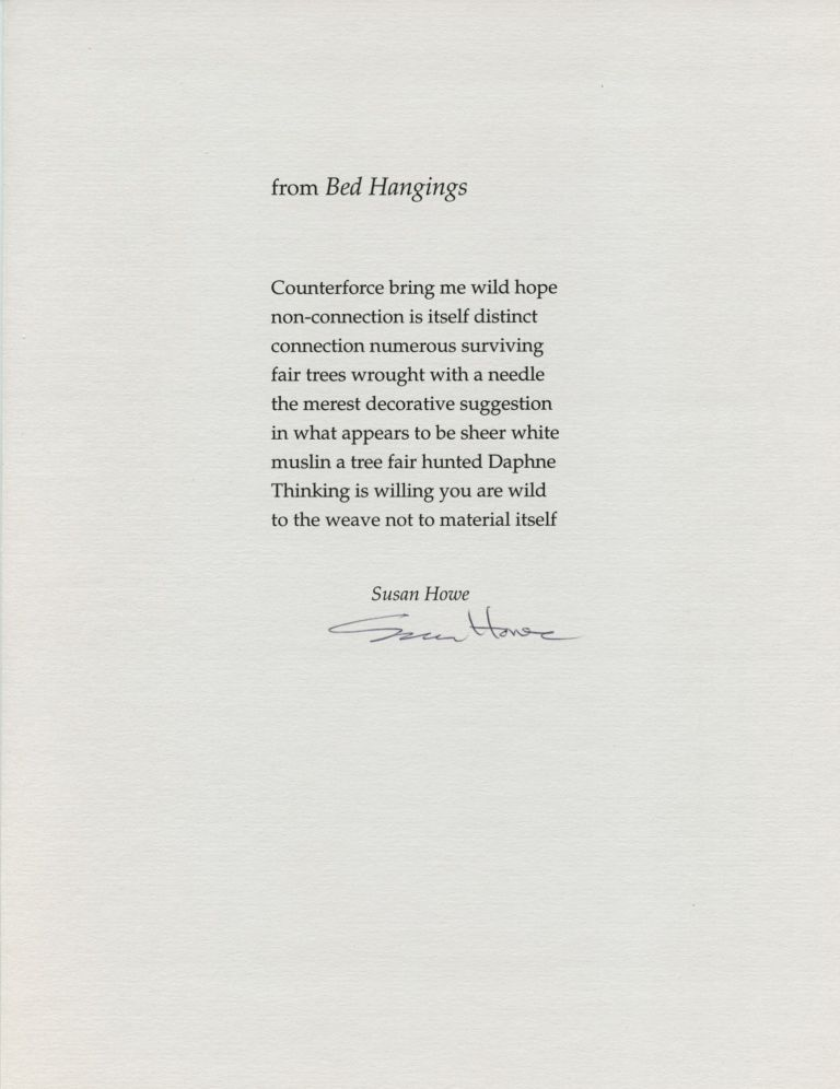 from Bed Hangings. Susan Howe. [Pressed Wafer, 2000].