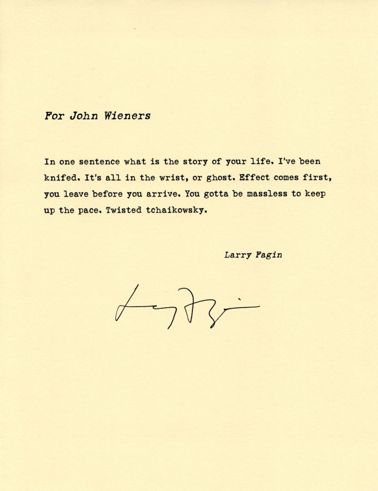 For John Wieners. Larry Fagin. [Pressed Wafer, 2000].