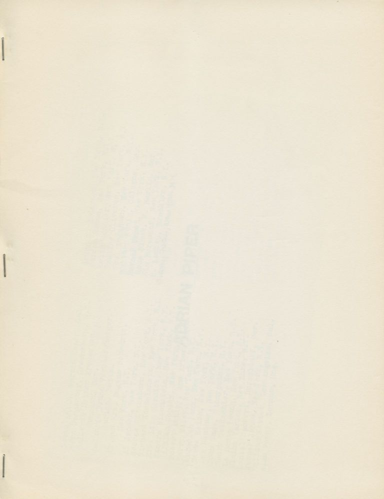 [Three Untitled Projects, with exhibition locations list laid in and original mailing enevelope]. Adrian Piper. 0 to 9 Books. 1969.
