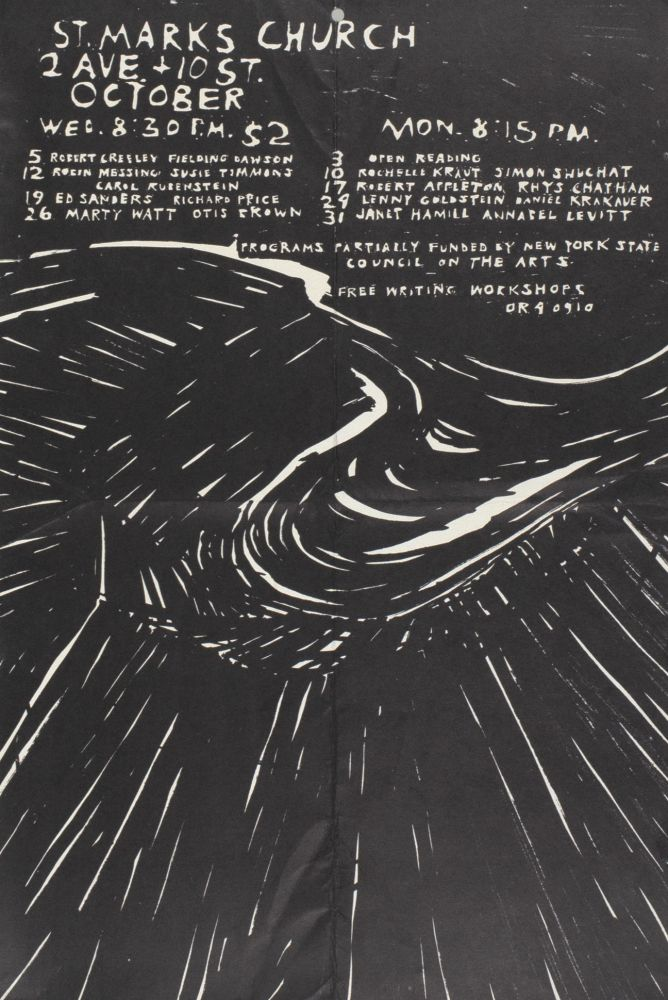 The Poetry Project at St. Mark's Church Poetry Reading Poster Flyer Oct. 1977. Robert Creeley, Richard Price, Ed Sanders, Carol Rubenstein, Susie Timmons, Robin Messing, Fielding Dawson. The Poetry Project at St. Marks Church. 1977.