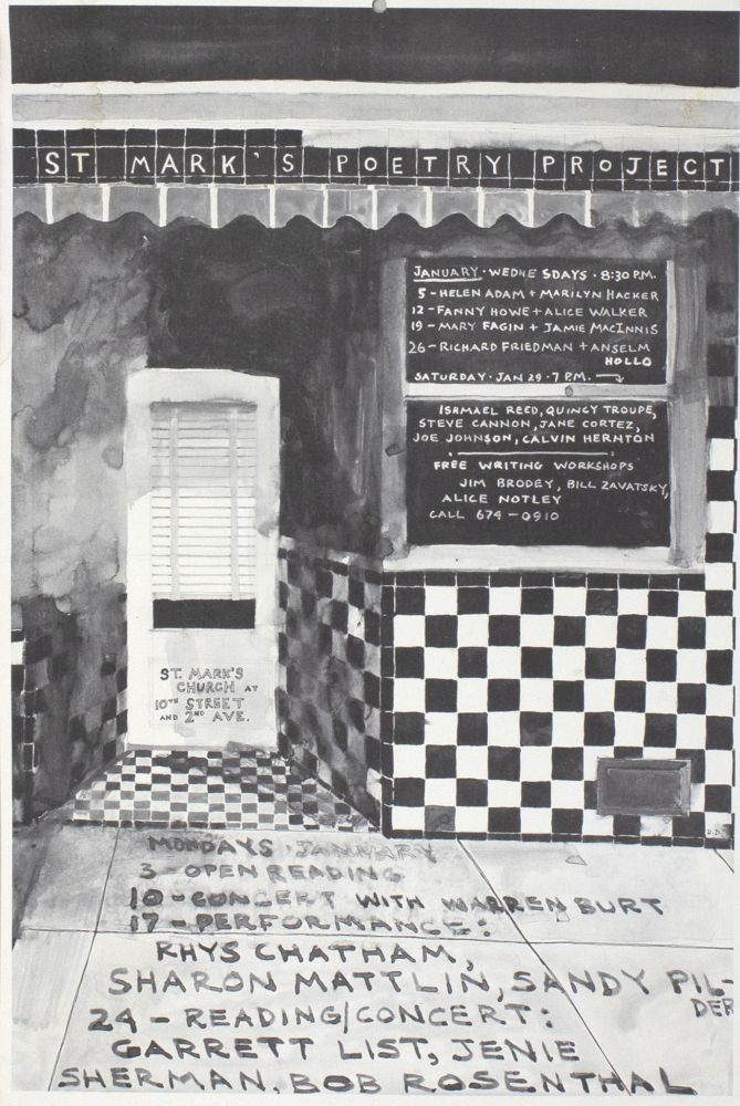 The Poetry Project at St. Mark's Church Poetry Reading Poster Flyer, Jan. 1977. Helen Adam, Anselm Hollo, Richard Friedman, Jamie MacInnis, Mary Fagin, Alice Walker, Fanny Howe, Marilyn Hacker. The Poetry Project at St. Marks Church. 1977.