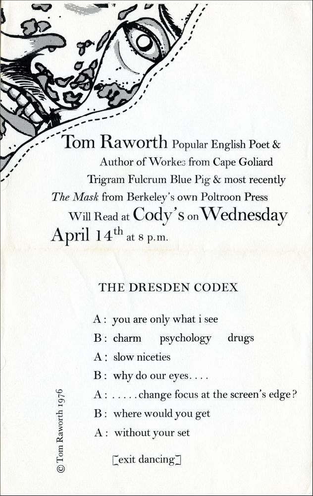 The Dresden Codex. Tom Raworth. Poltroon Press. 1976.