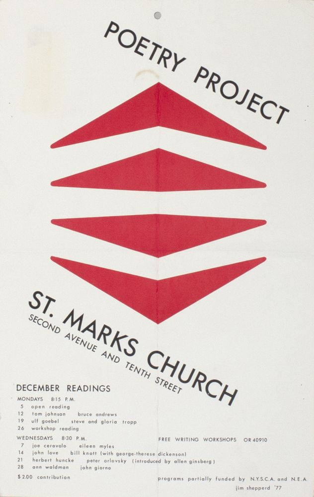 The Poetry Project at St. Mark's Church Poetry Reading Poster Flyer Dec. 1977. Bruce Andrews, Joe Ceravolo, Eileen Myles, Anne Waldman, John Giorno. The Poetry Project at St. Marks Church. 1977.