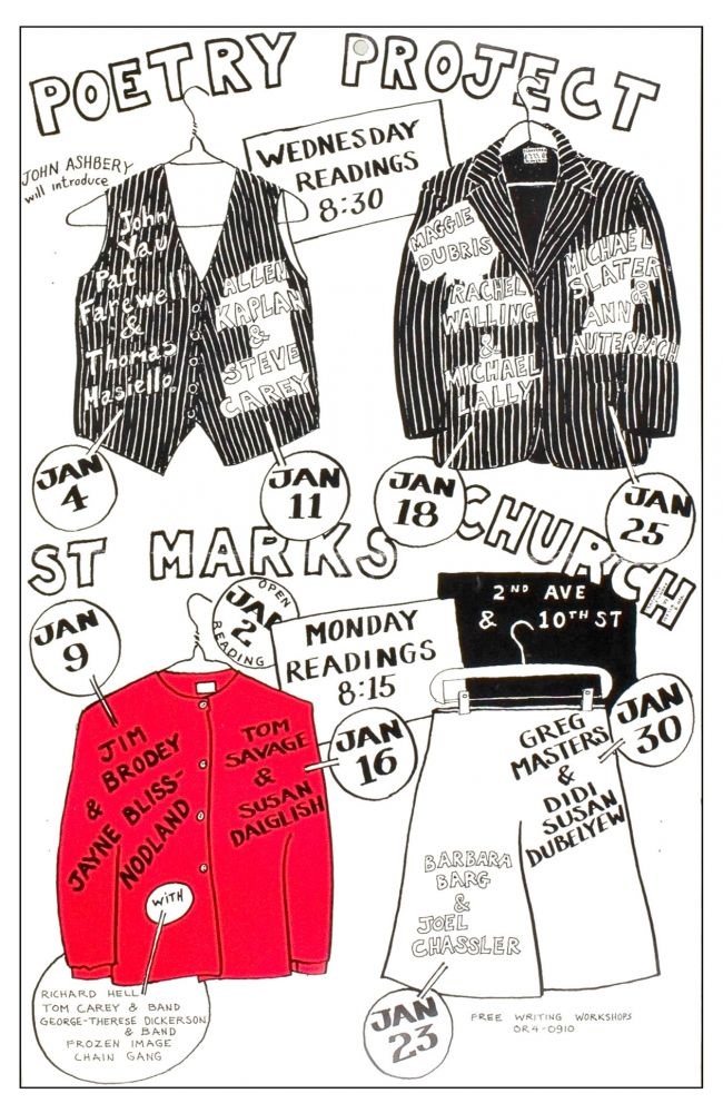The Poetry Project at St. Mark's Church Poetry Reading Poster Flyer Jan. 1978. Richard Hell, Maggie Dubris, Jim Brodey, John Yau, Michael Lally. The Poetry Project at St. Mark's Church. 1978.