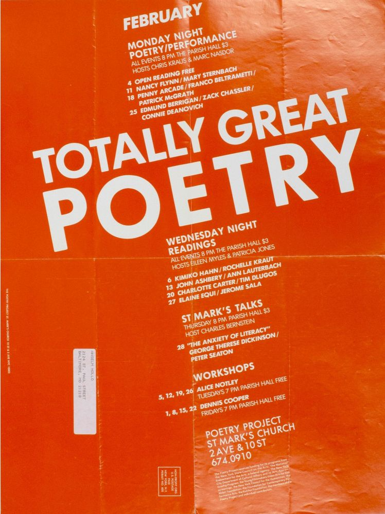 The Poetry Project at St. Mark's Church Poetry Reading Poster Flyer, Feb. 1985. John Ashbery, Charles Bernstein, Penny Arcade, Eileen Myles, Ann Lauterbach. The Poetry Project at St. Mark's Church. 1985.