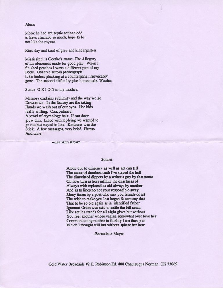 Sonnet / Alone. Bernadette Mayer, Lee Ann Brown. Cold Water Press. [1989?].