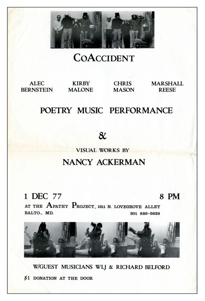 [CoAccident Poetry Music Performance & Visual Works by Nancy Ackerman]. CoAccident. The Apathy Project. 1977.