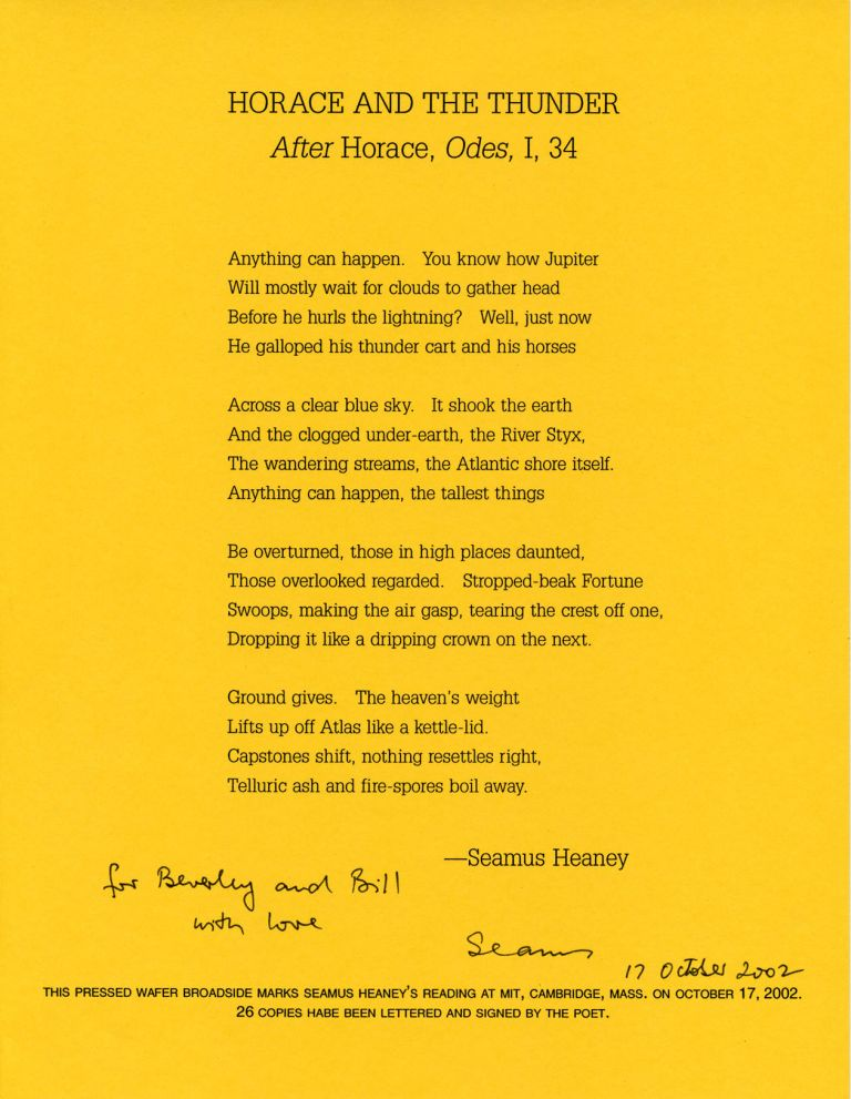 Horace and the Thunder: After Horace, Odes, I, 34. Seamus Heaney. Pressed Wafer. 2002.