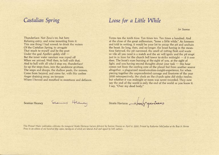 """Castalian Spring"" and ""Loose for a Little While."". Seamus Heaney, Stratis Haviaras. Pressed Wafer. 2000."