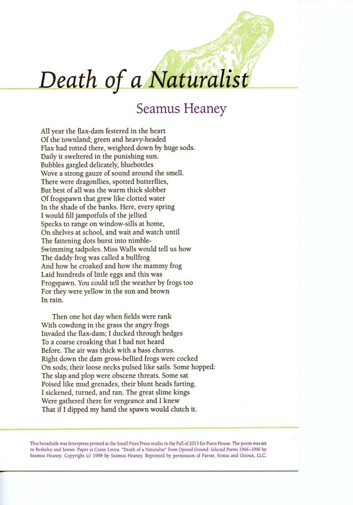 Death of a Naturalist. Seamus Heaney. Poets House. 2013.