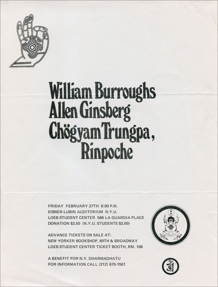 William Burroughs, Allen Ginsberg, and Chögyam Trungpa, Rinpoche (Poetry Reading Poster Flyer). William Burroughs, Allen Ginsberg, Rinpoche Chögyam Trungpa. NYU. N.d.