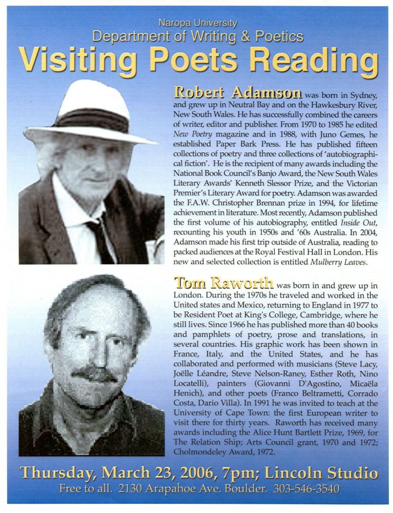 Visiting Poets Reading (Poetry Reading Poster Flyer). Robert Adamson, Tom Raworth. Naropa University. 2006.