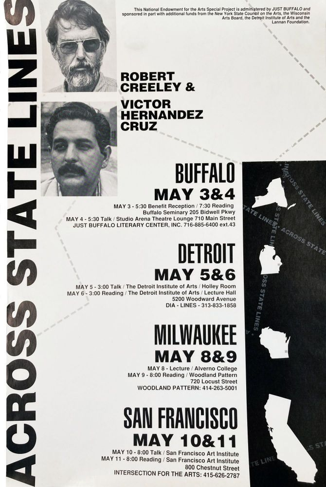 Across State Lines (Poetry Reading Poster Flyer). Robert Creeley, Victor Hernandez Cruz. The National Endowment for the Arts. [1990].