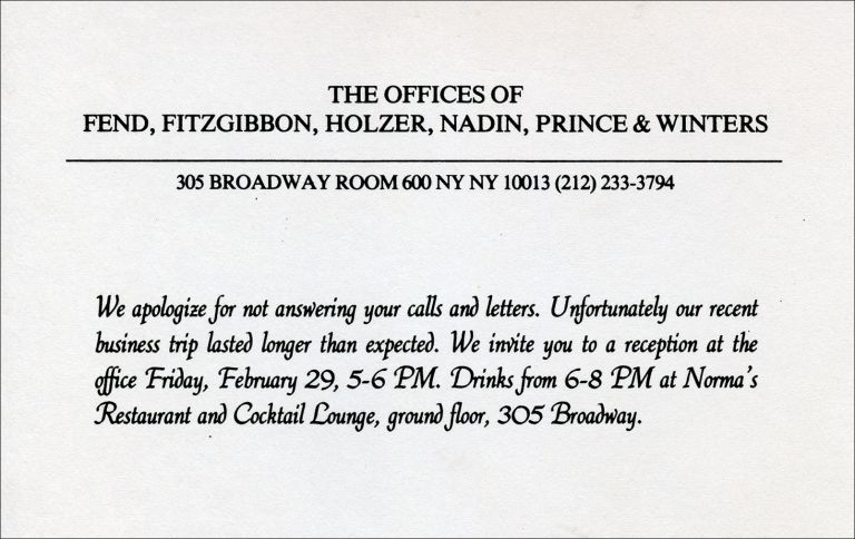 The Offices of Fend, Fitzgibbon, Holzer, Nadin, Prince & Winters. Peter Fend, Richard Prince, Jenny Holzer, Coleen Fitzgibbon, Robin Winters. The Offices of Fend, Fitzgibbon, Holzer, Nadin, Prince & Winters. [1980].