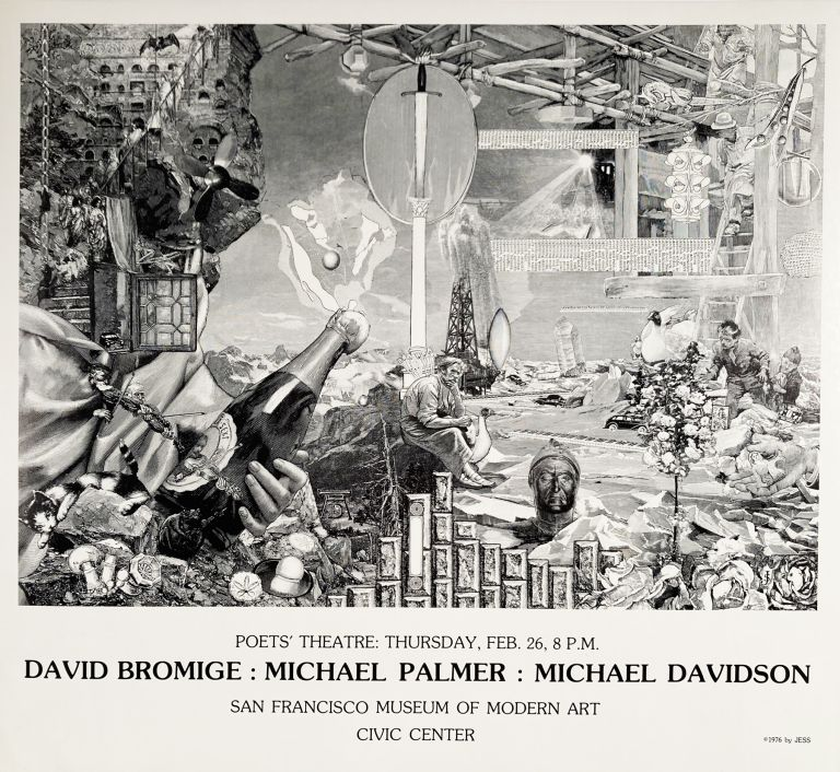 Poets' Theatre: Thursday, Feb. 26, 8 P.M. David Bromige: Michael Palmer: Michael Davidson. Poetry Poetry Reading Poster Flyer with Jess collage. David Bromige Jess, Michael Palmer, Michael Davidson, Collins. San Francisco Museum of Modern Art. [1976].