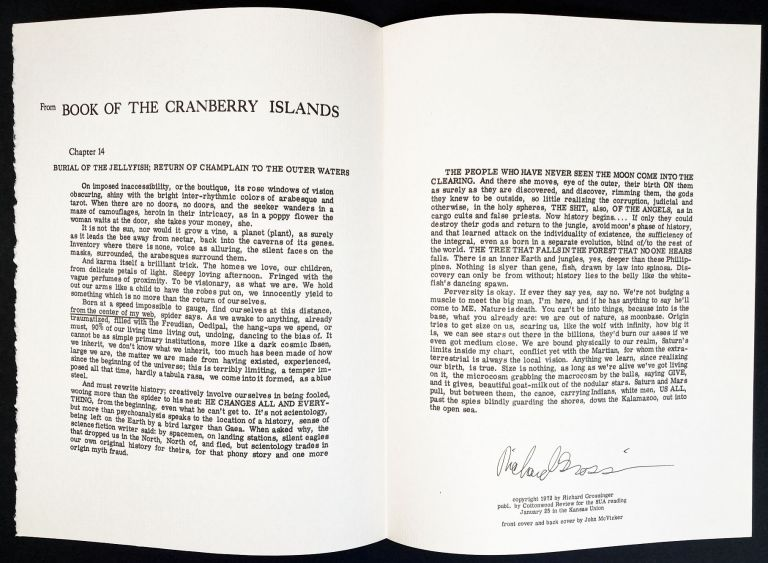 """From """"Book of Cranberry Islands."""" Richard Grossinger. Cottonwood Review. 1972."""