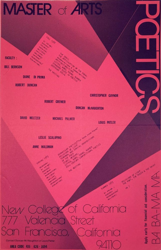 Poster for the Master of Arts in Poetics program at New College of California. Bill Berkson, Leslie Scalapino, Louis Patler, Michael Palmer, David Meltzer, Duncan McNaughton, Christopher Gaynor, Robert Grenier, Robert Duncan, Anne Waldman. New College of California. 1982.