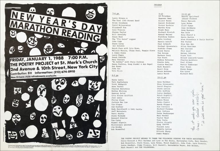 The Poetry Project's 14th Annual New Years Reading Poster Flyer Jan. 1, 1988. Allen Ginsberg, Larry Fagin, John Cage, David Wojnarowicz. The Poetry Project at St. Marks Church. 1988.