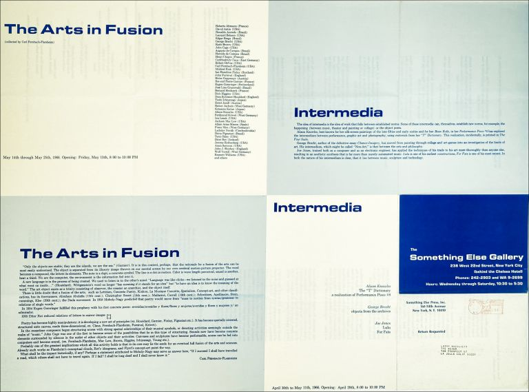 """""""Intermedia""""/""""The Arts in Fusion."""" [Exhibition Poster.]. Dick Higgins, Carl Fernbach-Flarsheim. Something Else Gallery. 1966."""