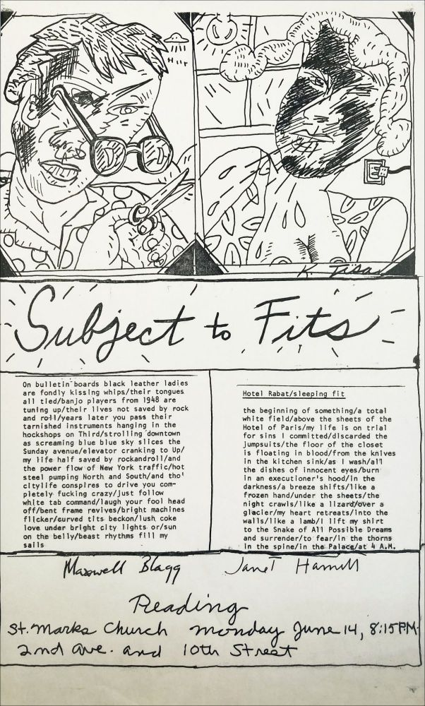 Subject to Fits. Poetry Reading Poster Flyer. Max Blagg, Janet Hamill. St. Mark's Church. n.d.
