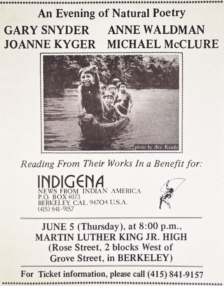An Evening of Natural Poetry. Gary Snyder, Joanne Kyger, Anne Waldman, Michael McClure. [1975].