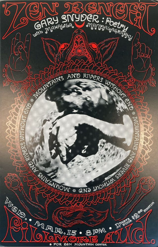 Zen Benefit. [Poster.]. Gary and Mahalila Snyder. Fillmore Auditorium. [1967].