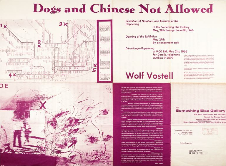 Dogs and Chinese Not Allowed. [Exhibition Poster Flyer.]. Wolf Vostell. Something Else Press. 1966.