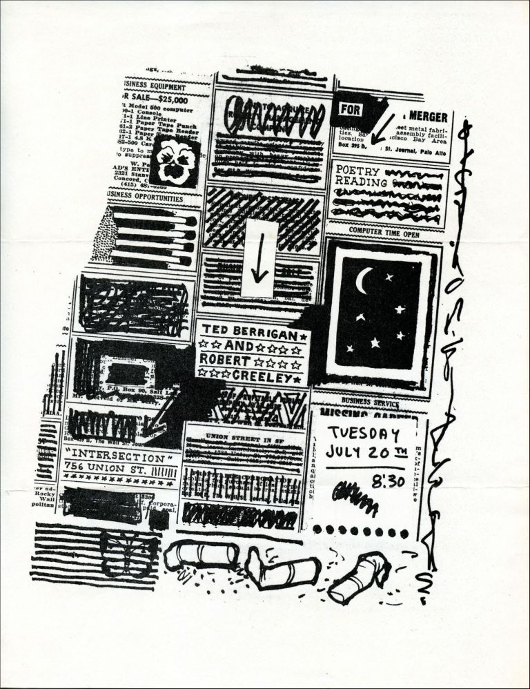 Ted Berrigan and Robert Creeley Reading Flyer. Joe Brainard, Ted Berrigan, Robert Creeley. Intersection. [1971].