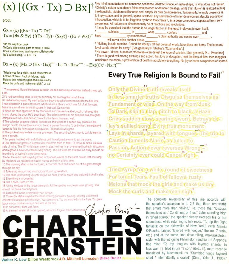 Every True Religion is Bound to Fail. Charles Bernstein. New York Center for Book Arts. 2008.