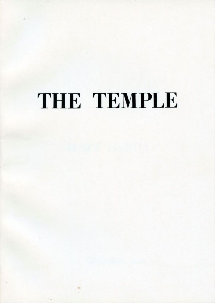 The Temple. Janet Hamill. Telephone Books. 1980.