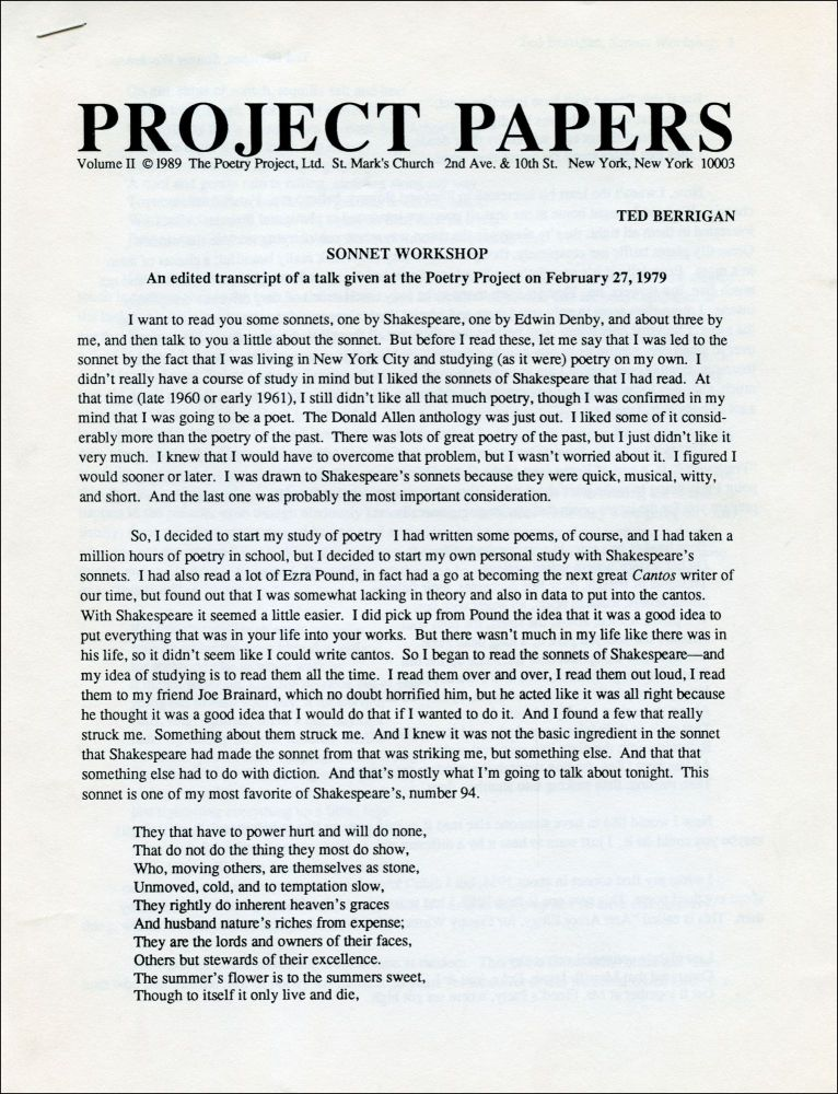 Sonnet Workshop. Ted Berrigan. The Poetry Project. 1989.