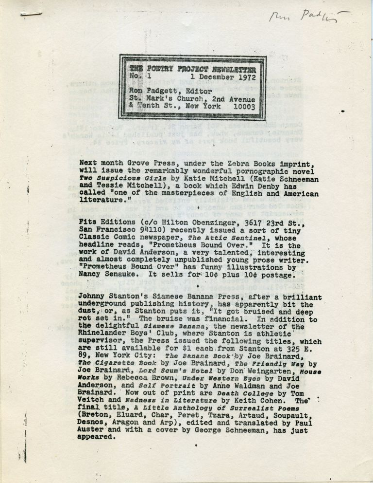 Poetry Project Newsletter, no. 1. Dec. 1, 1972. Ron Padgett.