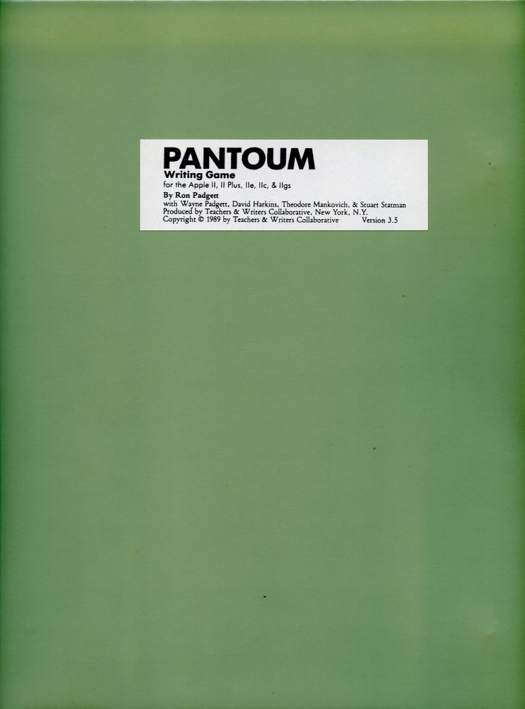 Pantoum: Writing Game. Ron Padgett. Teachers & Writers Collaborative. 1989.