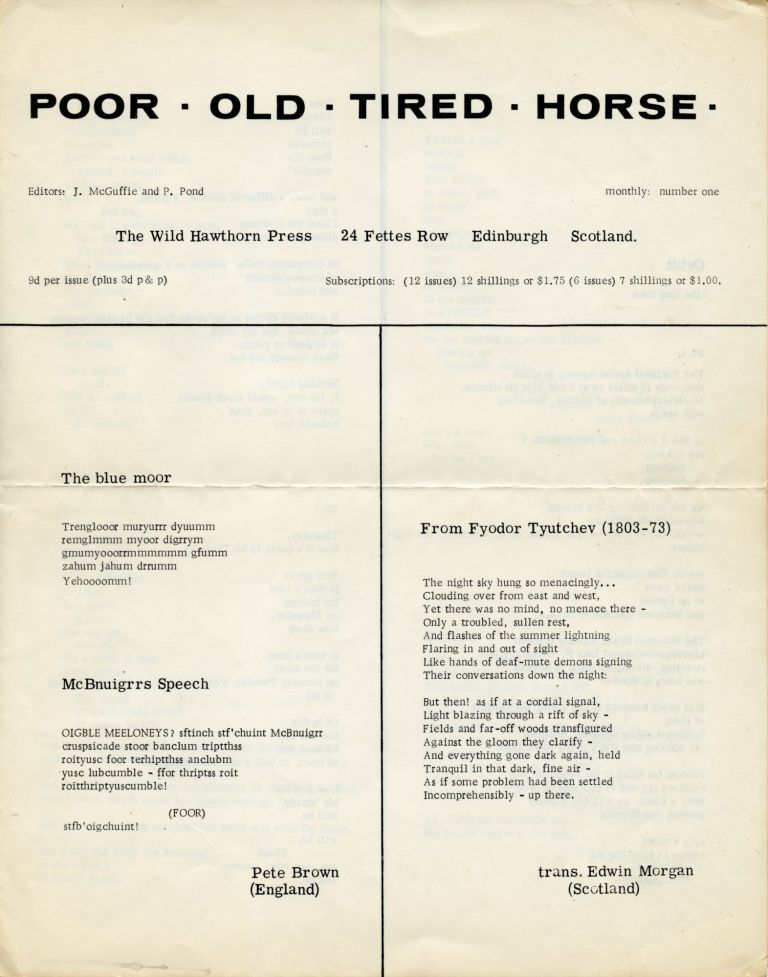 Poor. Old. Tired. Horse. [P. O. T. H.], nos. 1–25. Apr. 1962–Nov. 1967. Ian Hamilton Finlay.