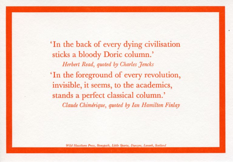 'In the Back of Every Dying Civilisation...'. Ian Hamilton Finlay, Claude Chimerique. Wild Hawthorn Press. [1981].
