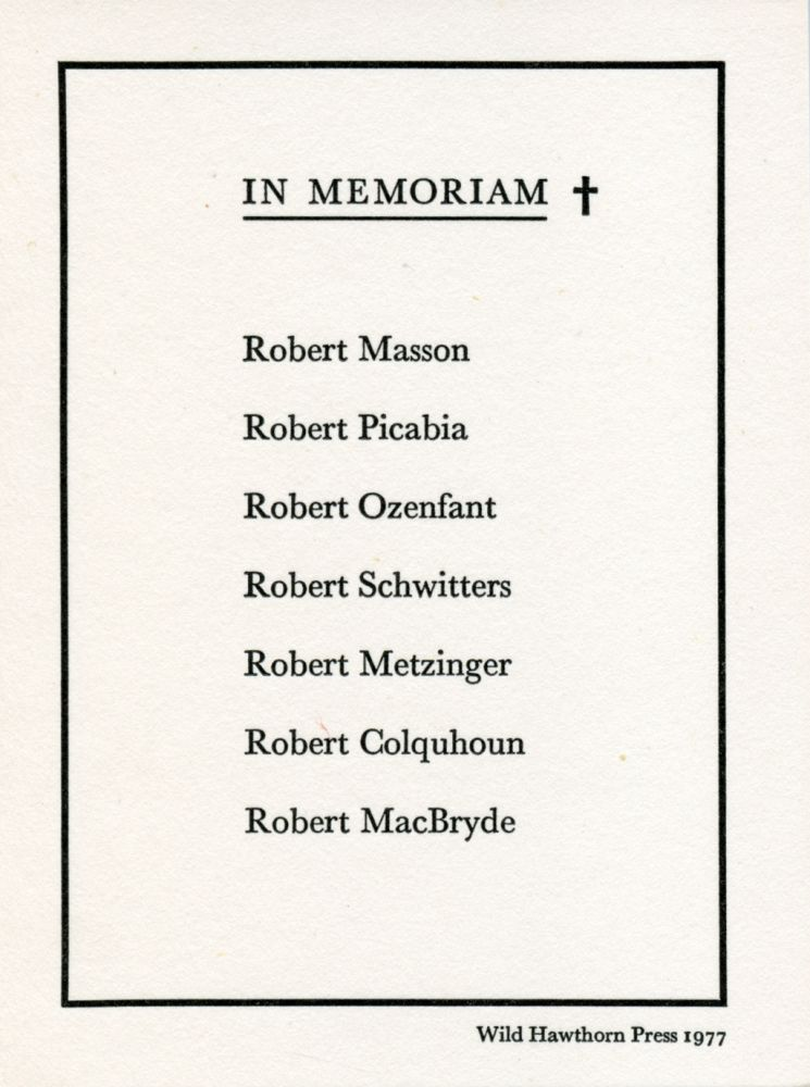 In Memoriam 'The Roberts.'. Ian Hamilton Finlay. Wild Hawthorn Press. 1977.