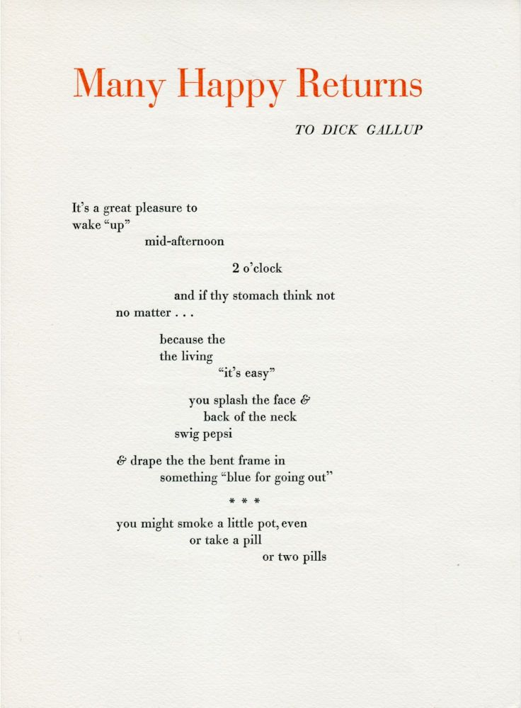 Many Happy Returns (To Dick Gallup). Ted Berrigan. Angel Hair. 1967.