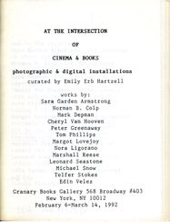 At the Intersection of Cinema and Books. Emily Erb Hartzell. Granary Books. 1992.