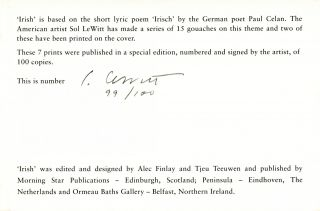 Irish. Harry Gilonis Trans. Pierre Joris, Anselm Hollo, Edwin Morgan, Jerome Rothenberg, Nuala Ní Dhomhnaill, Paul Celan, Sol LeWitt. Morning Star, Peninsula, Ormeau Baths Gallery. 1997.