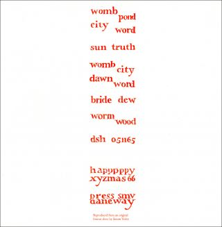 Womb Word. dsh, Dom Sylvester Houédard. [Openings Press]. 1992.