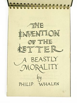 The Invention of the Letter. Philip Whalen. Carp and Whitefish Press. 1967.