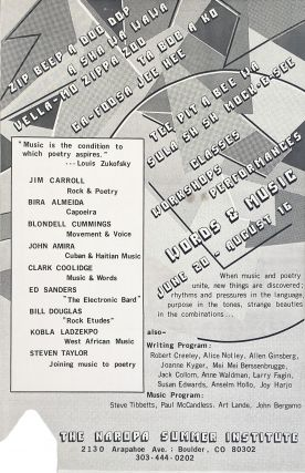 Words & Music. The Naropa Summer Institute. Poetry Reading Poster Flyer. Jim Carroll, Steven Taylor, Ed Sanders, Clark Coolidge. The Naropa Institute. N.d.