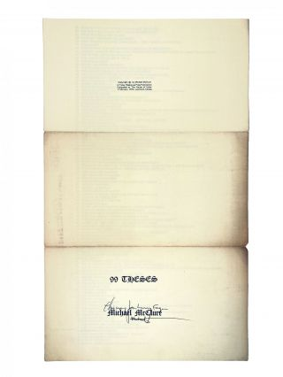 99 Theses. Michael McClure. Tansy / Wakarusa Press. 1972.