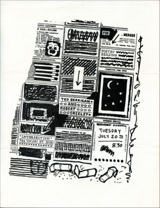 Ted Berrigan and Robert Creeley Reading Flyer