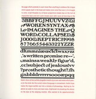 Prove before Laying: Figuring the Word. Johanna Drucker. Druckwerk. 1997.